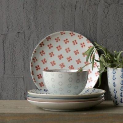 Creative Co-Op Waterside 4 Piece Round Ceramic Plate Set