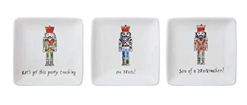 Creative Co-op Holiday Nutcracker Humorous Ceramic Plates - Set of 3