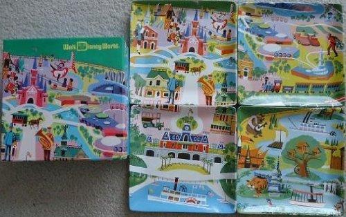 Disney Walt World WDW Kevin Kidney Jody Daily- 1970s Preview Center Map 4 Ceramic Plate Set Brand New in Box