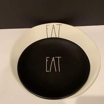 Rae DunnEAT Ceramic Plate Set of 8 - 4 EAT WHITE 11  4 EAT Black 8 Black