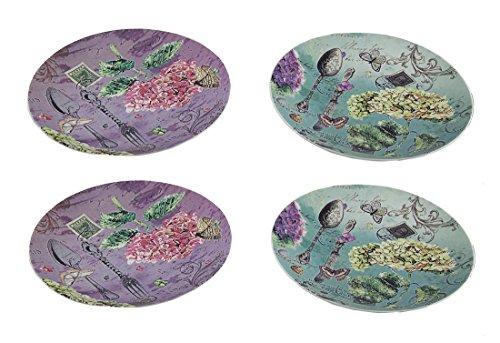 Zeckos 4 Piece Garden Fare Postcard Print 8 inch Ceramic Plate Set