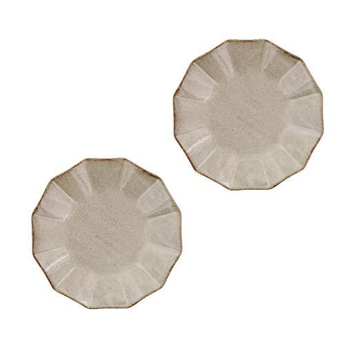 Zen Table Japan Rinka Handmade 57 Ceramic Plates Set of 2 Made in Japan - Beige