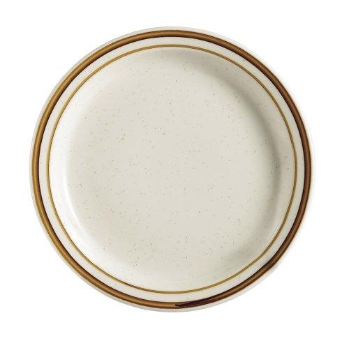 CAC China AZ-8 Arizona 9-Inch Brown Rim Brown Speckled American White Stoneware Round Plate Box of 24