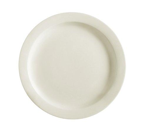 CAC China NRC-7 Narrow Rim 7-14-Inch American White Stoneware Plate Box of 36