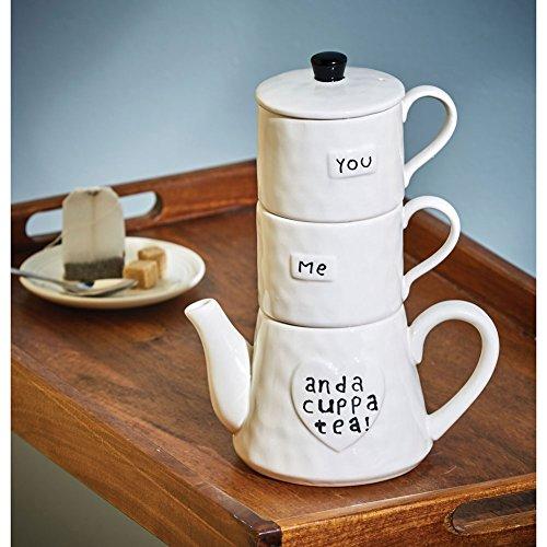 Creative Co-Op DA6916 White Stoneware You Me And A Cuppa Tea Teapot and Mugs Set Multicolor
