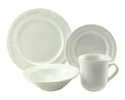 Empire Collection EMP9001 Simply Stoneware Dinnerware Set Baroque Rim Imprint 16-piece White Pack of 16
