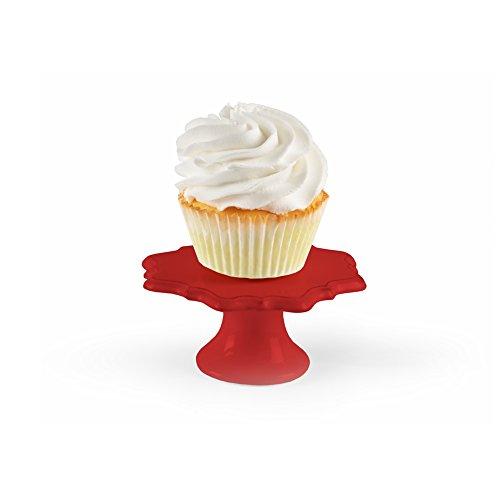 American Atelier 1562241RD Bianca Cupcake Pedestal Plates Set of 4 Red