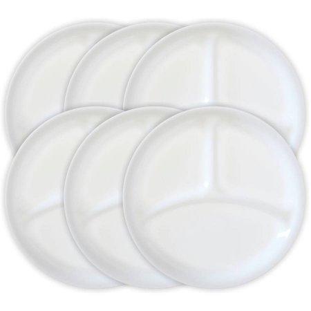 Corelle Livingware 1025 Divided Dish Winter Frost White Set 6