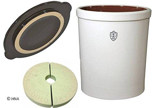 Ohio Stoneware 5 Gallon Fermentation Preservation Crock - Crock Lid Stones