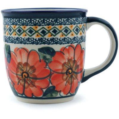 Polish Pottery Mug 12 oz Peach Poppies UNIKAT