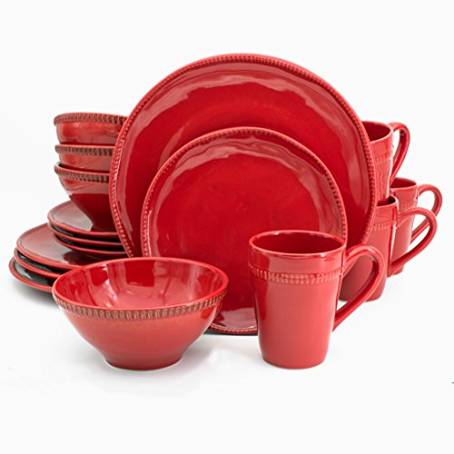 Euro Ceramica Algarve Collection Artisan-Inspired 16 Piece Stoneware Dinnerware Set Service for 4 Red