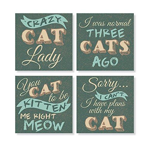 Carson Home Accents Set of 4 Square Stoneware House Coasters Cat Decorative