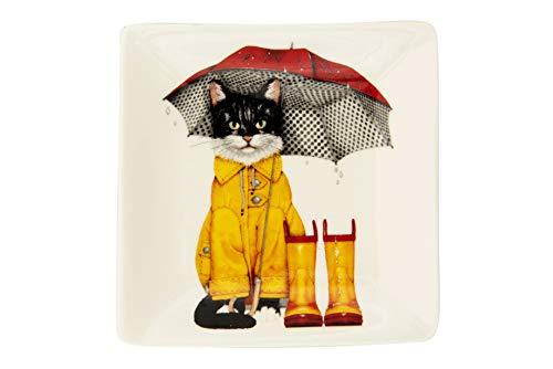 Creative Co-op Cat in Raincoat with Umbrella Square Stoneware Plate Multicolored
