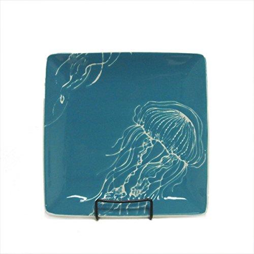 Marine Life Sea Nettle Jellyfish Square Stoneware Dinner Plate