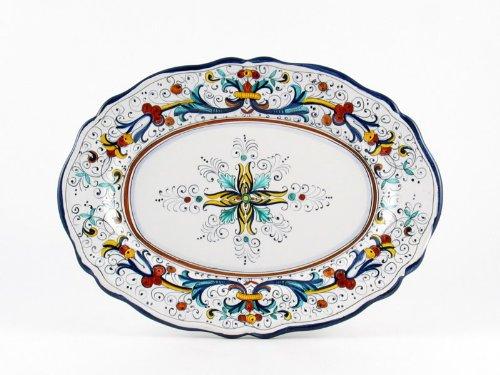 Hand Painted Italian Ceramic 165-inch Oval Platter Ricco Deruta Blu - Handmade in Deruta