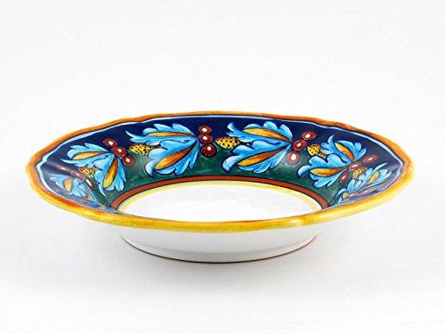 Hand Painted Italian Ceramic 98-inch Soup Pasta Plate Scallop Rim Geometrico 39E - Handmade in Deruta