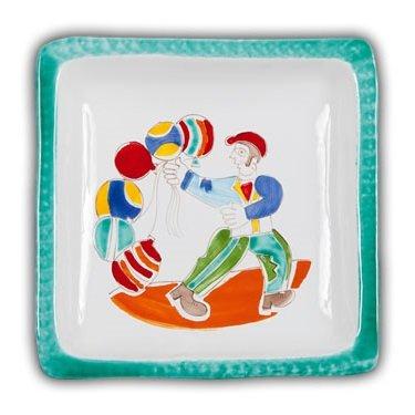 Hand Painted Italian Ceramic Desimone Square Plate - Palloncini - Handmade in Sicily