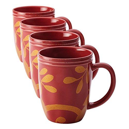 Rachael Ray Dinnerware Gold Scroll 4-Piece Mug Set Cranberry Red
