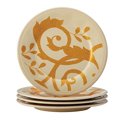 Rachael Ray Dinnerware Gold Scroll 4-Piece Round Appetizer Plate Set Almond Cream