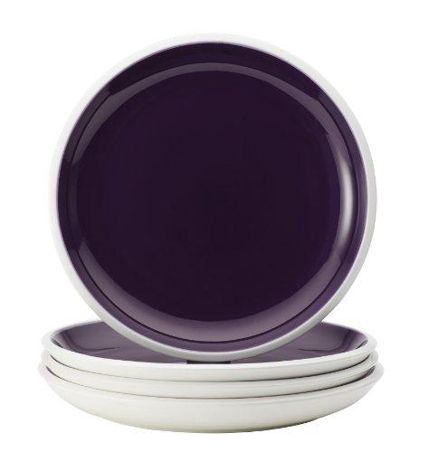 Rachael Ray Dinnerware Rise Collection 4-Piece Stoneware Dinner Plate Set Purple