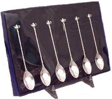 Silver-Plated Tea Spoons - Set of 6 - Demi- Teapot Teaspoons
