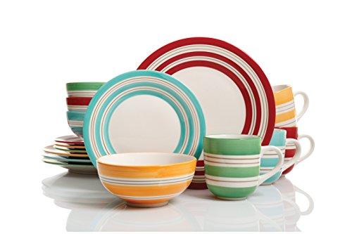 Studio California Sunset Stripes 16 pc Dinnerware Set 4 Assorted Colors Stoneware