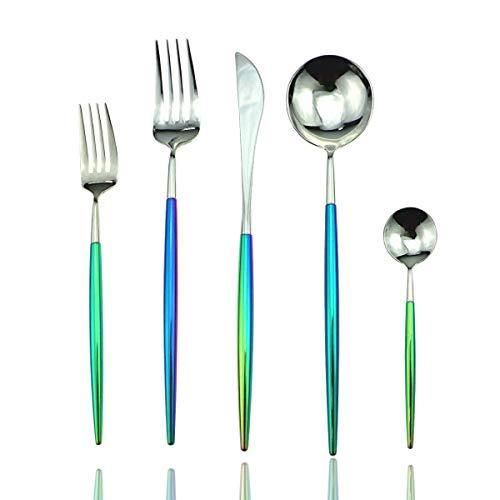 DOCANI Flatware Sets Western Tableware 4Set 20Pcs Colorful Rainbow Silver Cutlery Stainless Steel Dinnerware Set Steak Fork Tea Coffee Dessert Scoops Knife Tableware 20-Piece