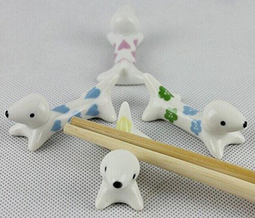 4pc Ceramic Dog Pattern Chinese Porcelain Chopstick Rest Spoon Fork Knife Holder