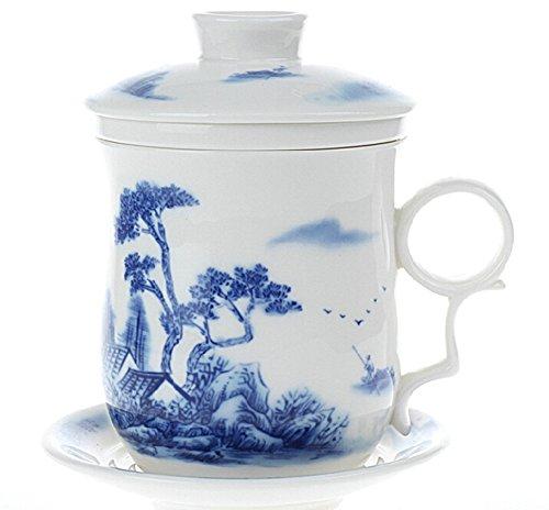 Moyishi Chinese Teaware White Porcelain Bone Tea Cups Tea Mug With Lid Blue Mountain Landscapes