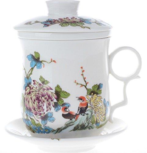 Moyishi Chinese Teaware White Porcelain Bone Tea Cups Tea Mug With Lid Colored Chrysanthemums Birds
