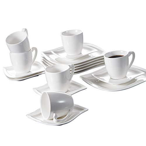 Malacasa Series Elvira 18-Piece Ivory White Porcelain China Ceramic Cream White Dinner Combi-Set with 6-Piece Cups 6-Piece Saucers and 6-Piece Dessert Plates Service for 6