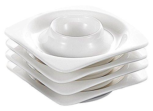Malacasa Series Rosana 6-Piece Ivory White Porcelain China Ceramic Cream White Egg Stand Cups Plates Set