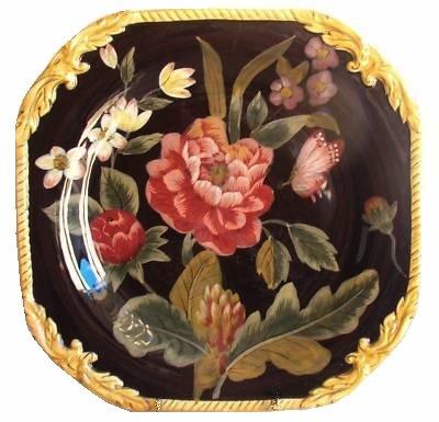 Raymond Waites Bali 11 12 Square Ceramic Floral Dinner Plate