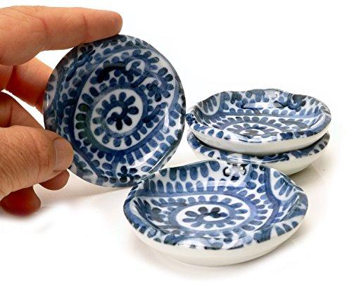 Handmade Ceramic Appetizer Dish Tako Design 35-Inch Set Of 4