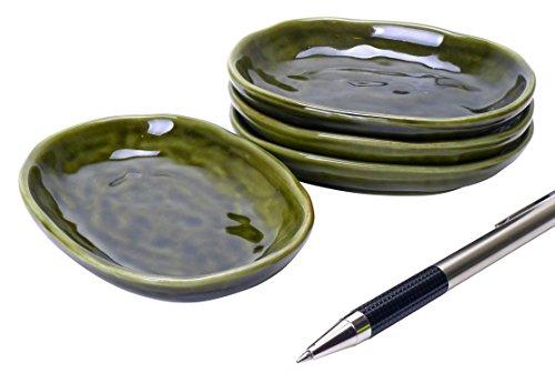 Spiceberry Home Porcelain Appetizer Dish Dark Handglazed Green 35-Inch Set Of Four