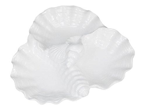 Triple Shell White Ceramic Appetizer Serving Dish