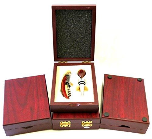 Wine Accessory Kit Bottle Stopper Waiters Corkscrew Wine Opener 3 piece Set wcustom Wood Box Wine Tool Kit Qty 1 Box Set