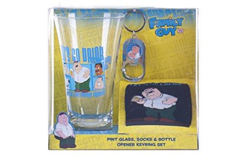 Family Guy Pint Glass Socks Bottle Opener Gift Set