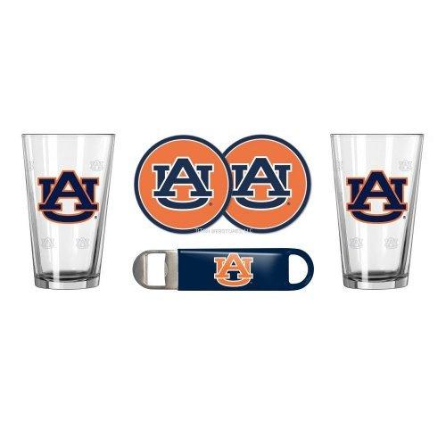 NCAA Auburn - Satin Etched Pint Glasses Coasters Bottle Opener Set  Auburn Tigers Beverage Gift Set