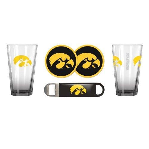 NCAA Iowa - Elite Pint Glasses Coasters Bottle Opener Set  Iowa Hawkeyes Beer Drinkers Gift Set