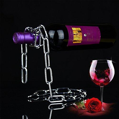 LUCKSTAR Magic Chain Wine Bottle Stand - Magic Red Wine Bottle Holder Floating Steel Link Chain Wine Bottle Rack Illusion Rack Stand Suit for RestaurantsBarsInterior Decoration Metallic