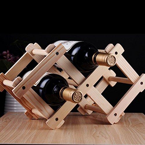 Wine Rack Lollipop Folding Wooden Red Wine Holder Racks- up to hold 3 Bottles -Wine Stand Display Shelf For Kitchen Bar