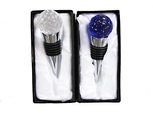 Pack of 2 Golf Ball Design Glass Wine Bottle Stoppers Transperant Blue92