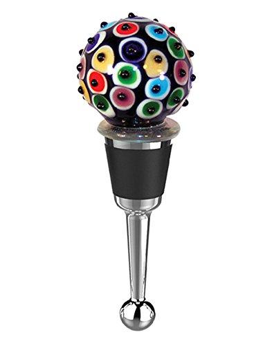 Zees Inc Pocket Bottles 14023 Handmade Glass Wine Bottle Stopper Multicolor