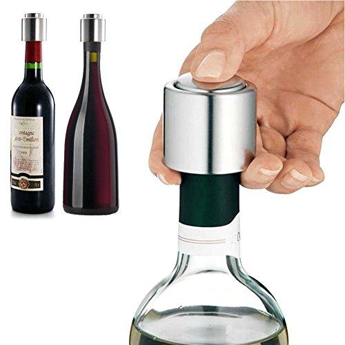 ToiM Shampagne Sealer Stainless Steel Vacuum Sealed Red Wine Bottle Stopper Preserver Pump Sealer Bar Stopper Keep Wine Fresh Slealer seal wine bottle after openingPack 2ShampagneWine
