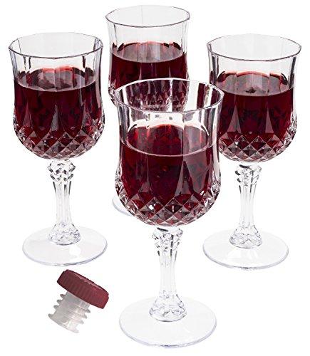 Prexware Set of 8 Unbreakable Wine Glasses Acrylic Wine Glasses Cryslal Like Wine Glasses And 1 Wine Bottle Stopper Pourer