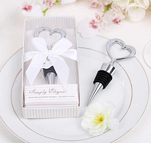 66pcs Simply Elegant Chrome Heart Wine Bottle Stopper in Box For Wedding Favor