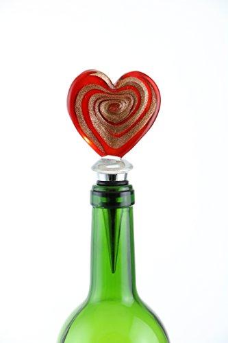 Wine Bodies Swirling Heart Wine Bottle Stopper Red