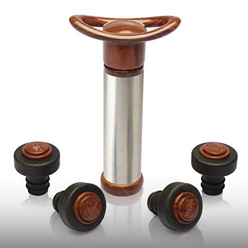 YOBANSA Wine Saver Pump With 4 Vacuum Wine StopperStainless Steel Vacuum Wine StopperWine Preserver Vacuum Pump Red