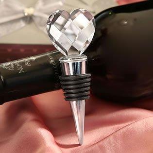 Elegant Chrome Bottle Stopper with crystal heart design Wedding Favors 72